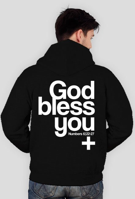 God Bless You / bluza męska, rozpinana z kapturem