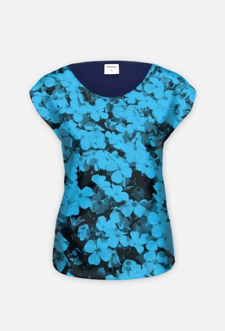 Koszulka kwiaty niebieska