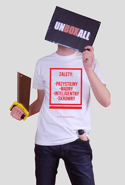 Koszulka ZALETY MĘSKA (czerwony nadruk)