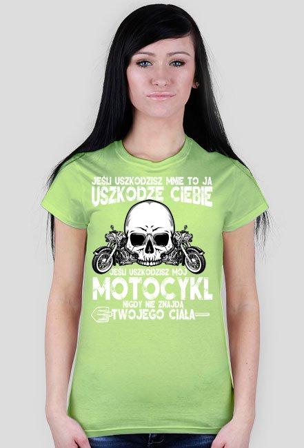 Jeśli uszkodzisz mnie to ja uszkodzę Ciebie czarny - koszulka motocyklowa damska