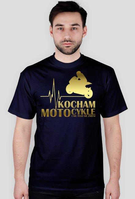 Kocham motocykle gold - męska koszulka motocyklowa
