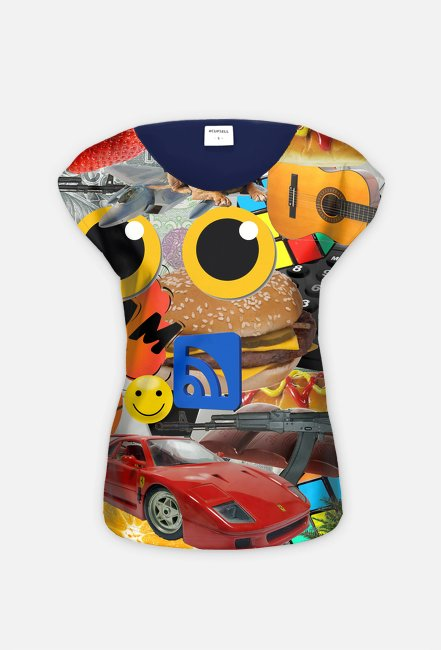 Koszulka-kolaż damska - Koszulka FullPrint Hybryda MuodeMotywy
