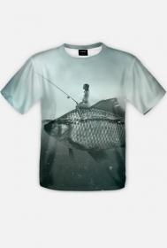 Koszulka z gołą babą na rybie fullprint