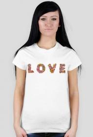 Koszulka LOVE kwiaty