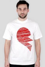 Koszulka dla par - połówka serca walentynki