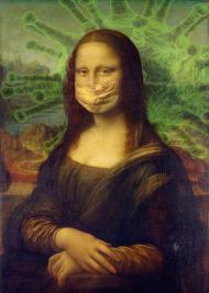 Mona Lisa w maseczce koszulka damska
