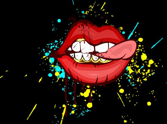 Maseczka z nadrukiem - usta i język