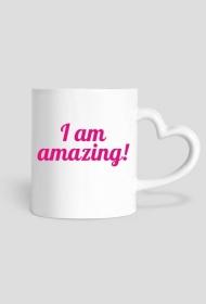 I Am Amazing - kubek w kształcie serca praworęczny