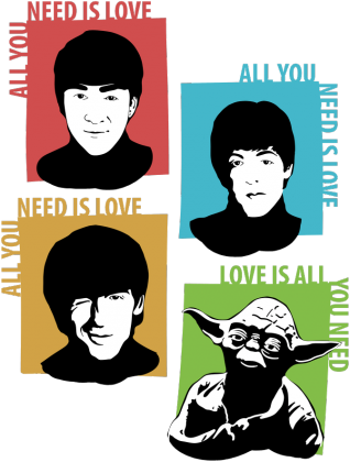 Love is all you need koszulka mistrz Yoda star wars the beatles