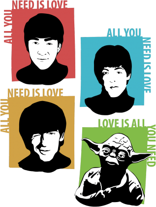 Love is all you need koszulka mistrz Yoda star wars the beatles męska