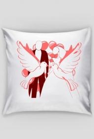 Walentynkowa poduszka z gołębiem
