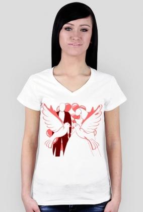 Walentynkowa koszulka z gołębiami
