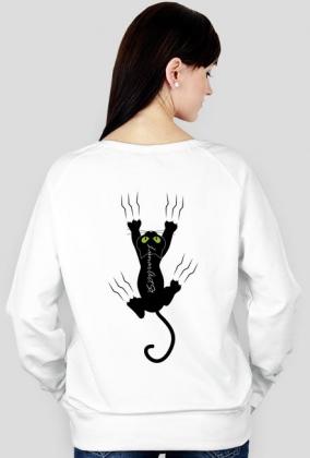 Bluza damska Kot, kocur biała