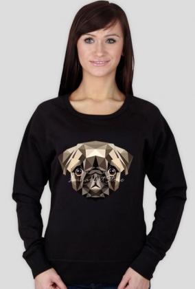 Bluza damska PUG, mops geometryczny