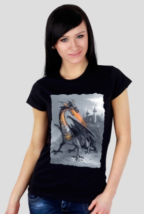 Smok wawelski - koszulka czarna damska