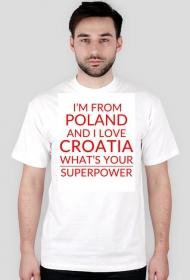 Koszulka SuperPower biała z czerwonym tekstem