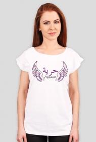 Wolność skrzydła fioletowy, napis po arabsku, arabski alfabet