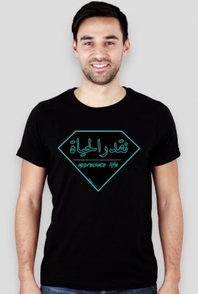 Doceń życie neon darkness, napis po arabsku, arabski alfabet