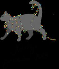 Fartuch swiąteczny, kot zaplątany w lampki