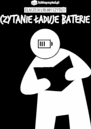 Koszulka męska PiktoGrafiki - Czytanie ładuje baterie (wersja czarna)