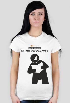 Koszulka damska PiktoGrafiki - Czytanie zwiększa zasięg