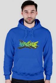 """Bluza z kapturem """"Graffiti WEKS"""" Męska - niebieska"""