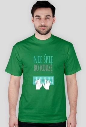 Nie śpię, bo kodzę - geek - t-shirt męski