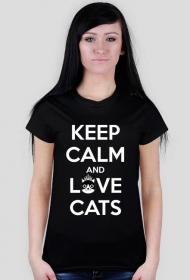 KEEP CALM and LOVE CATS - BLACK - DAMSKI