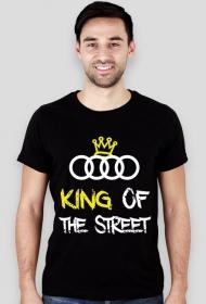 """Koszulka SLIM """"KING OF THE STREET"""" audi czarna i niebieska (PRZOD)"""