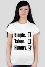Koszulka z czarnym nadrukiem single taken hungry