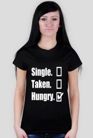 Koszulka z białym nadrukiem single taken hungry