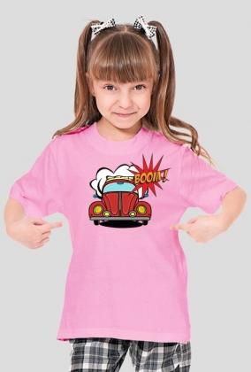 """Koszulka dziecięca z nadrukiem """"Garbus pop art rozowy"""""""