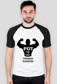 Koszulka Pot to łzy Twojego Tłuszczu Męska Czarne rękawy