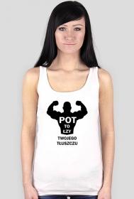 Koszulka Pot to łzy Twojego Tłuszczu Damska Biała na ramiączkach