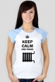 Koszulka Keep Calm and Make Kaloryfer Damska biała kolorowe rękawy