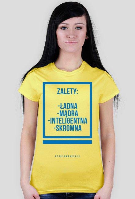 Koszulka ZALETY DAMSKA (niebieski nadruk)