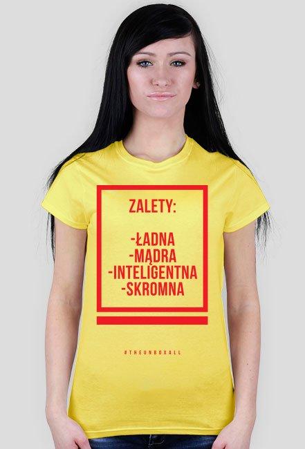 Koszulka ZALETY DAMSKA (czerwony nadruk)