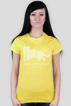 Koszulka KOT KRESKOWY LADY (biały nadruk)