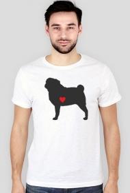 Męska koszulka SLIM - Mops - ciemny