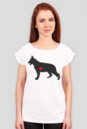 Damska koszulka (wycięcie) - Owczarek Niemiecki - ciemny