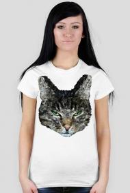 Koszulka z nadrukiem geometryczny kot