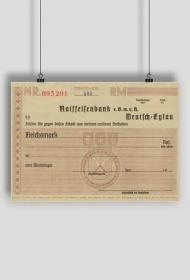 Plakat: reprodukcja przedwojennego czeku