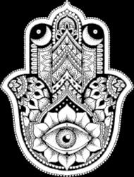 HAMSA - czarna koszulka fatima hand w Kosmosy