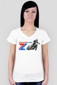 Koszulka Zuzelendu z żużlowcem, damska, dekolt V-ka