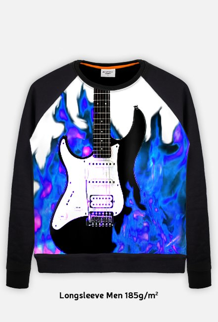 Electric guitar on  blue fire
