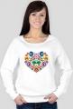 Serce folk - koszulka z długim rękawem damska