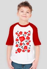 Czapeczki z Fezu.  Koszulka chłopięca z kolorwymi rękawami