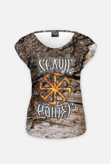 Slavic Power Słowiańska Siła Kołowrót Symbol Kolovrat Women's T-Shirt Koszulka Damska Full-Print