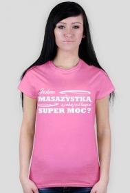 Koszulka, masażystka, różowa