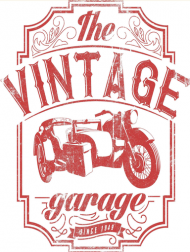 Kubek, nadruk: motocykl z wózkiem bocznym, napis Vintage garage